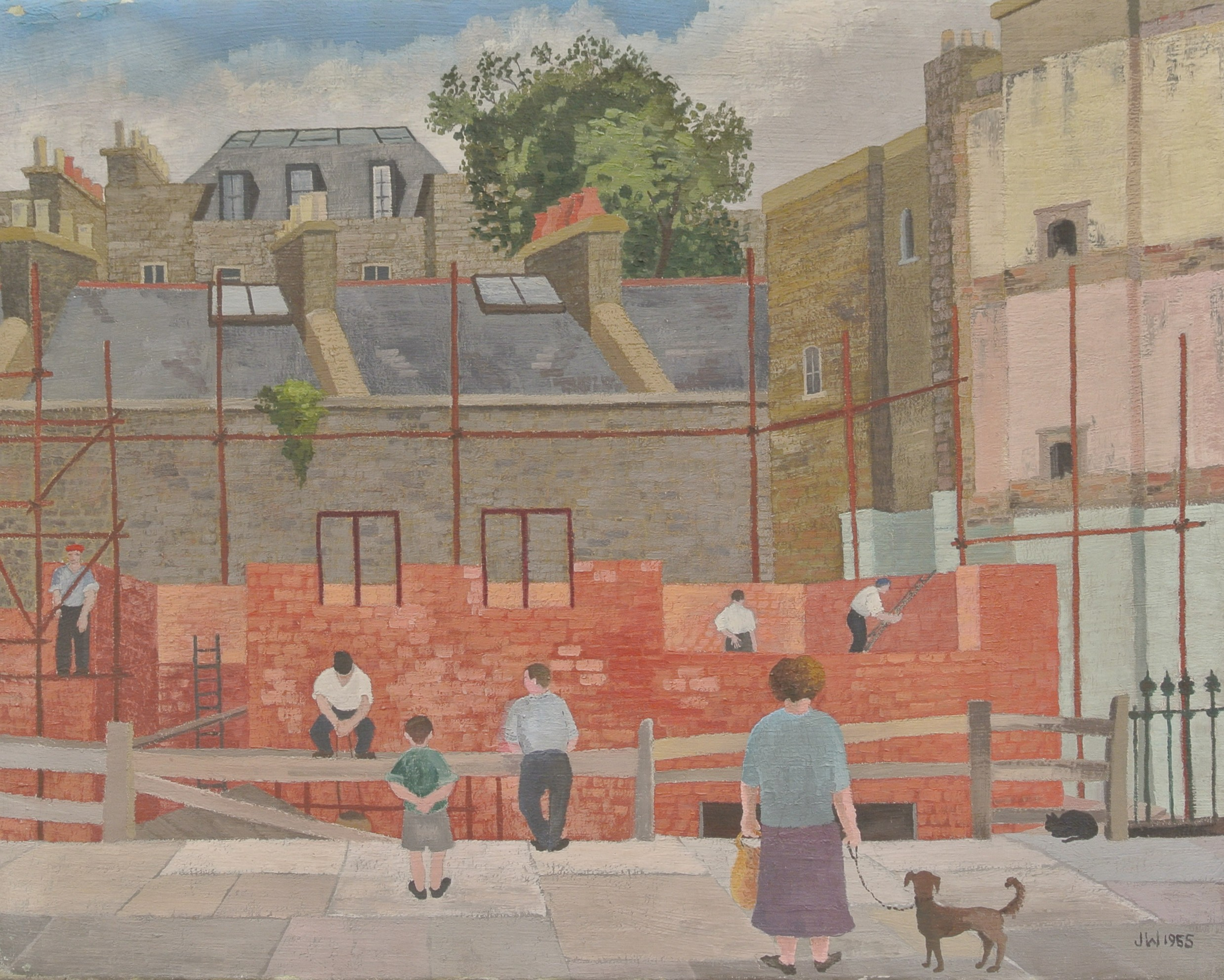 Joan Warburton,  Building Work, Chelsea 1955, Oil on Canvas, 60 x 76 cm