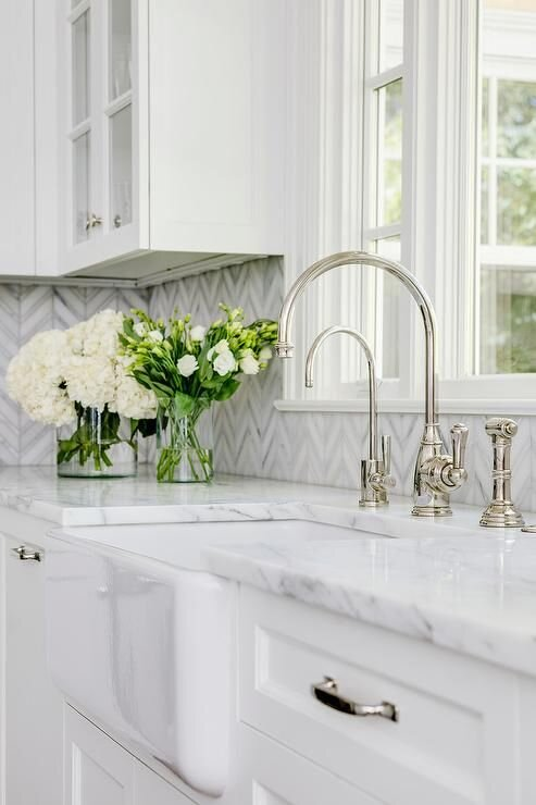 Farmhouse Sink with White and Gray Marble Counter….jpeg