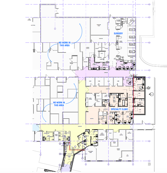 Registration, Bathrooms (yellow), Speciality Clinic (peach), and Surgery (pink) - Subject to change.