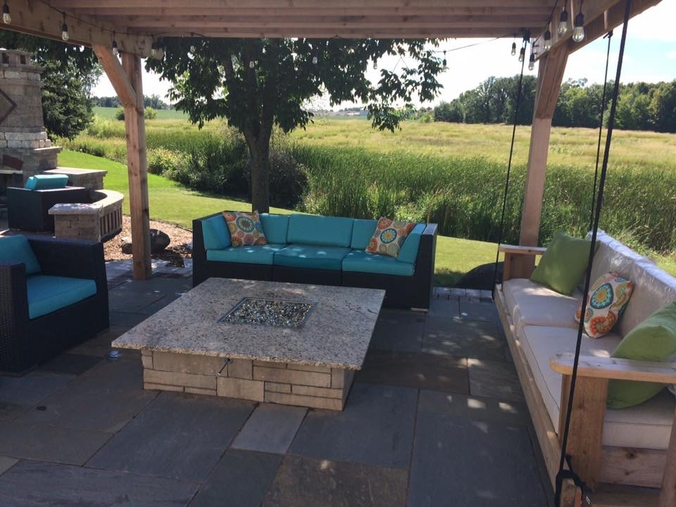 Vosters Landscaping | Firepit | Brick | Hardscape | Outdoor Living | Outdoor Swing
