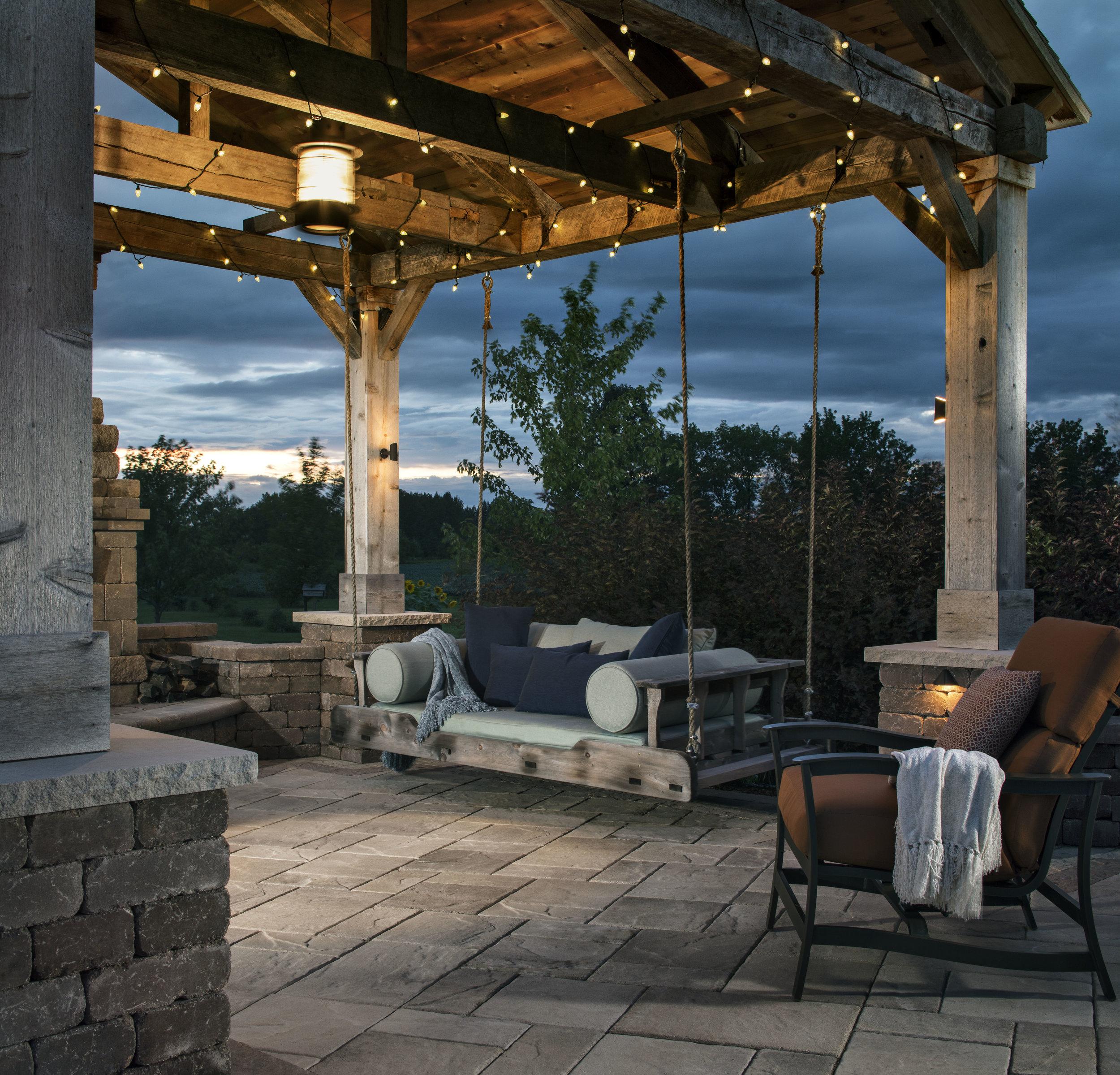 Vosters Landscaping | Outdoor Swing | Brick  | Outdoor Living