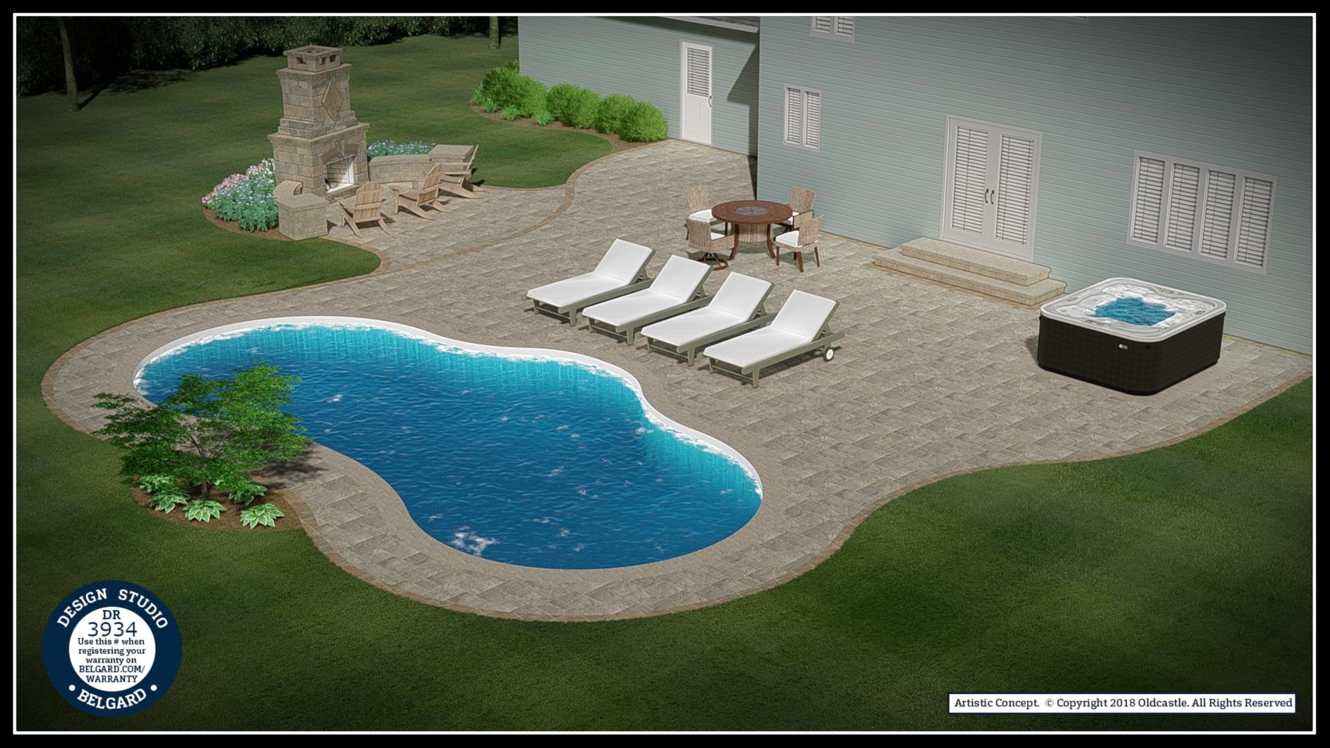 Vosters Landscaping | Pool Deck | Firepit | Brick | Hardscape | Outdoor Living | Patio | Belgard | Design Studio