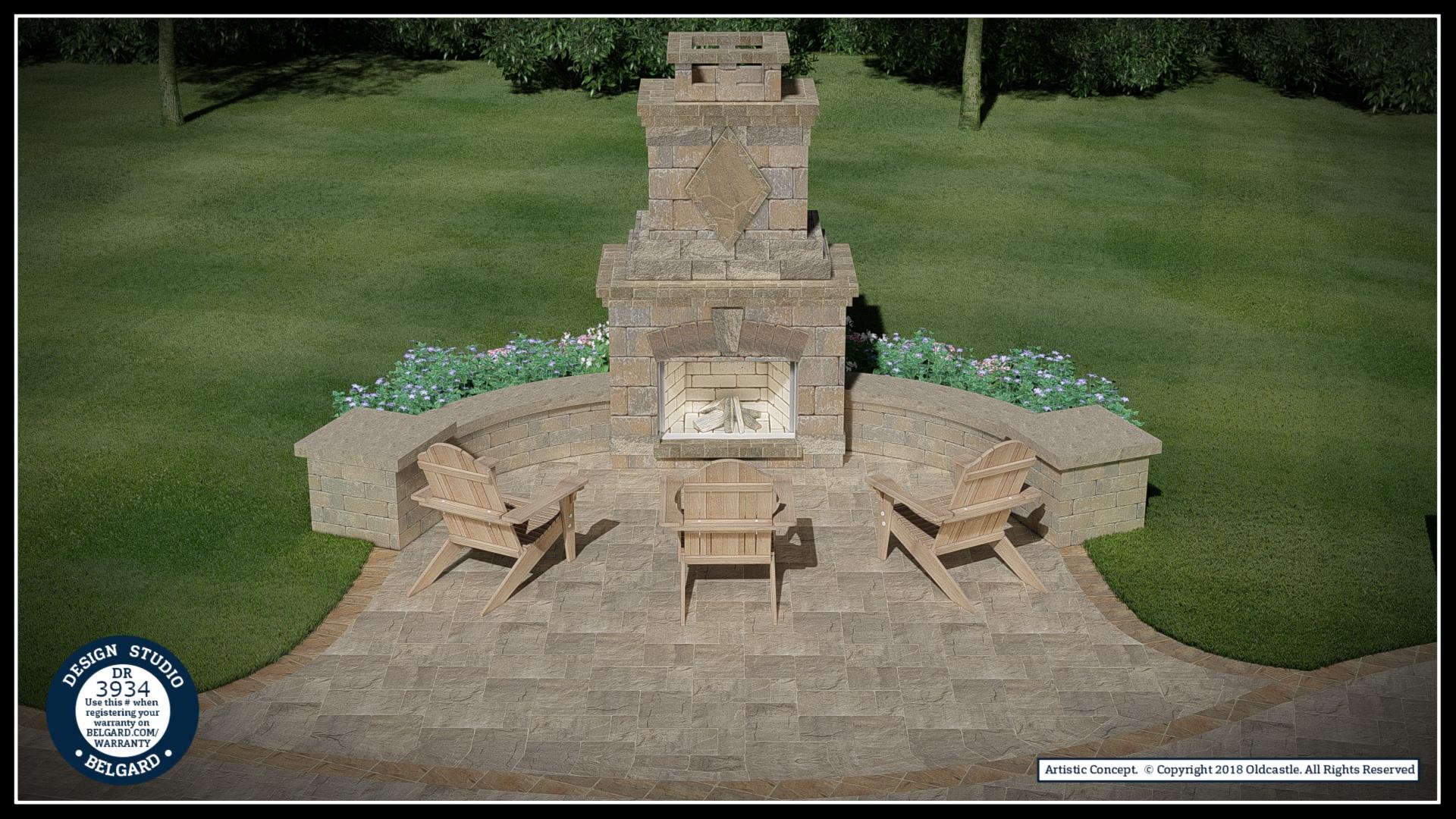 Vosters Landscaping | Firepit | Brick | Hardscape | Outdoor Living | Patio | Belgard | Design Studio | Fireplace