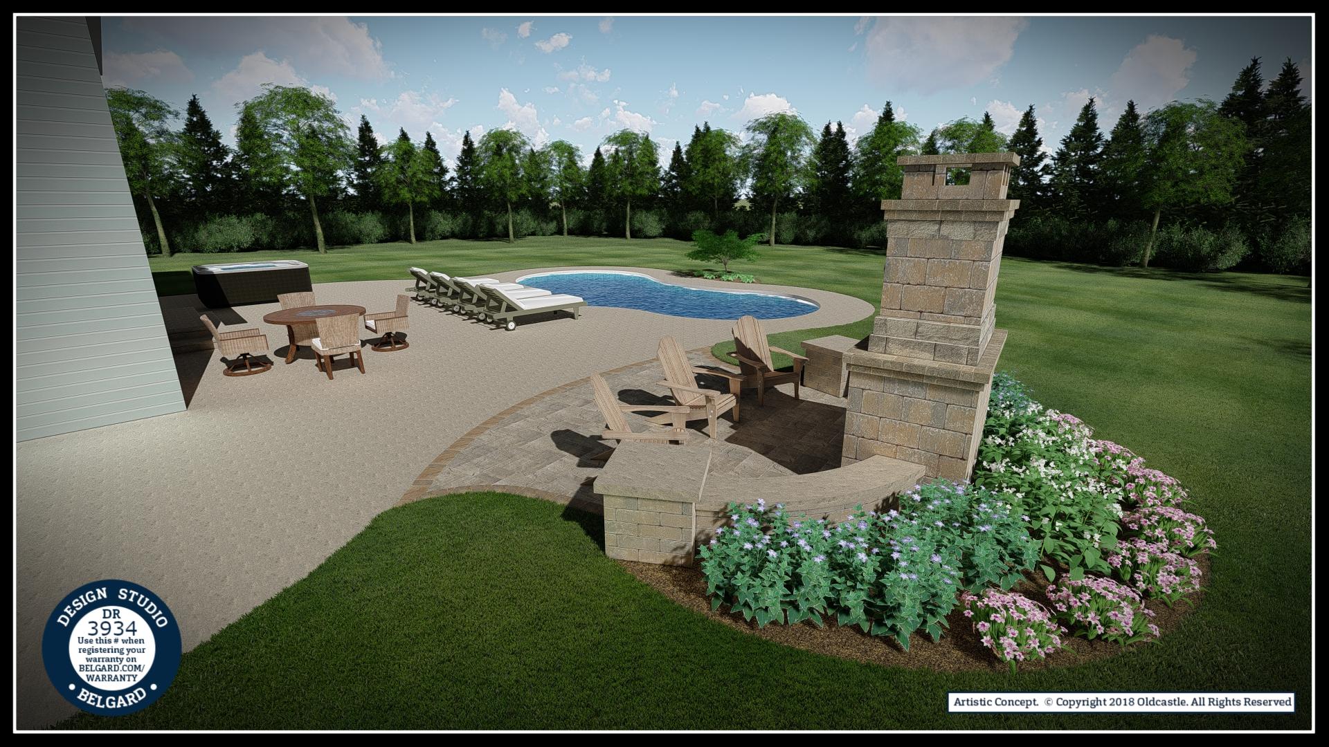 Vosters Landscaping | Pool Deck | Firepit | Brick | Hardscape | Outdoor Living | Patio | Belgard | Design Studio | Fireplace