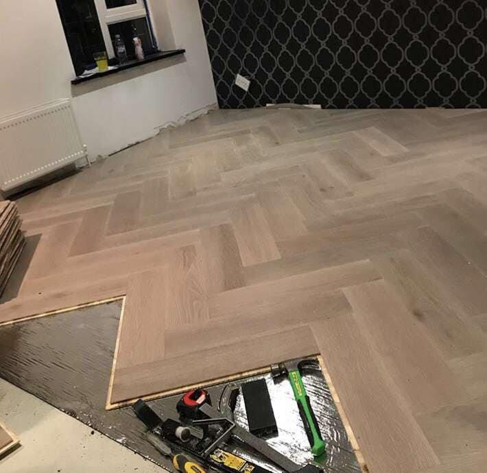 Parquet / Herringbone - 18mm Engineered wood herringbone floor, supplied and fitted. Floor prepared ourselves using ardex na self level.
