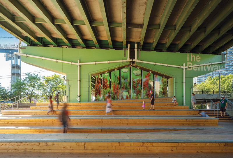 At the western end of the park, Strachan Gate area includes a grand staircase and open amphitheatre that hosts up to 250 people for performances.