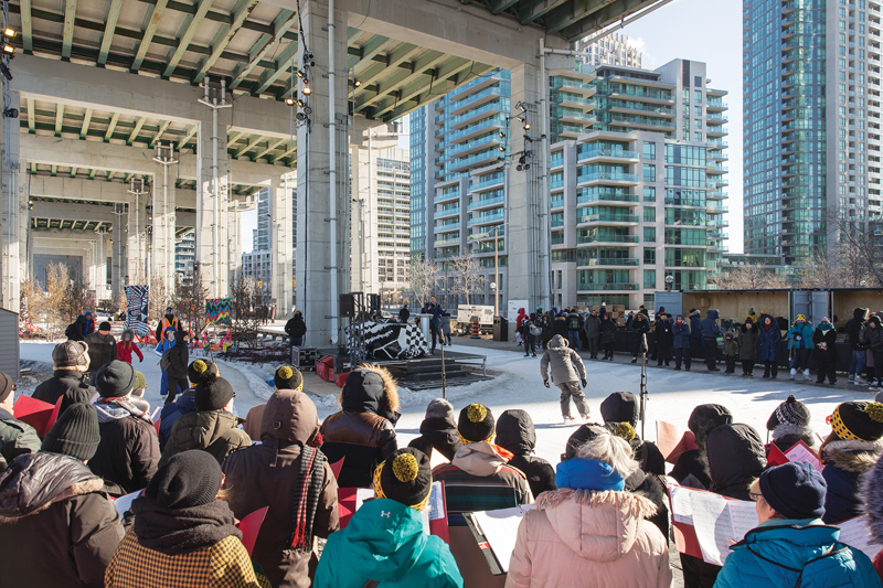 A figure-eight shaped skating trail was the first section of The Bentway to open, and has proved popular with locals and visitors. Over the following year, it was joined by gardens, an amphitheatre, and other gathering areas. Photo by Andrew Williamson.