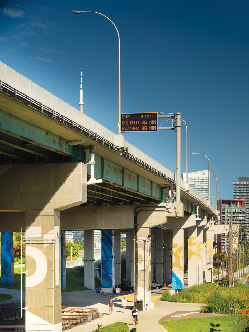 The highway supports, also known as 'bents' provide a grand, rhythmic frame for the park's string of spaces.