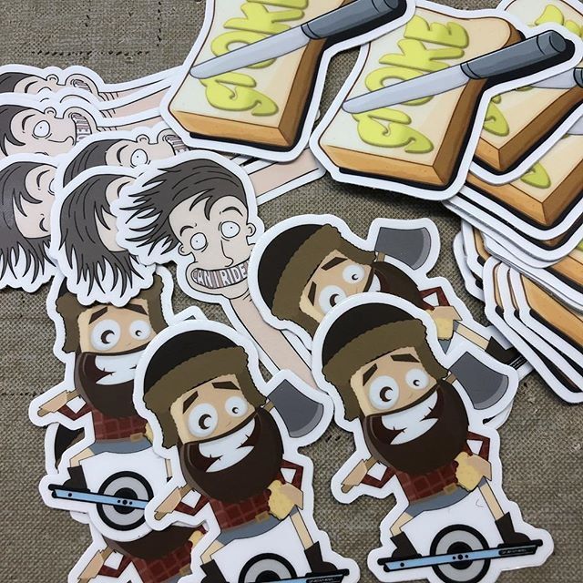 Putting together sticker packs! When you order a shirt, you get a bunch of stickers to go along with it :) #onewheel