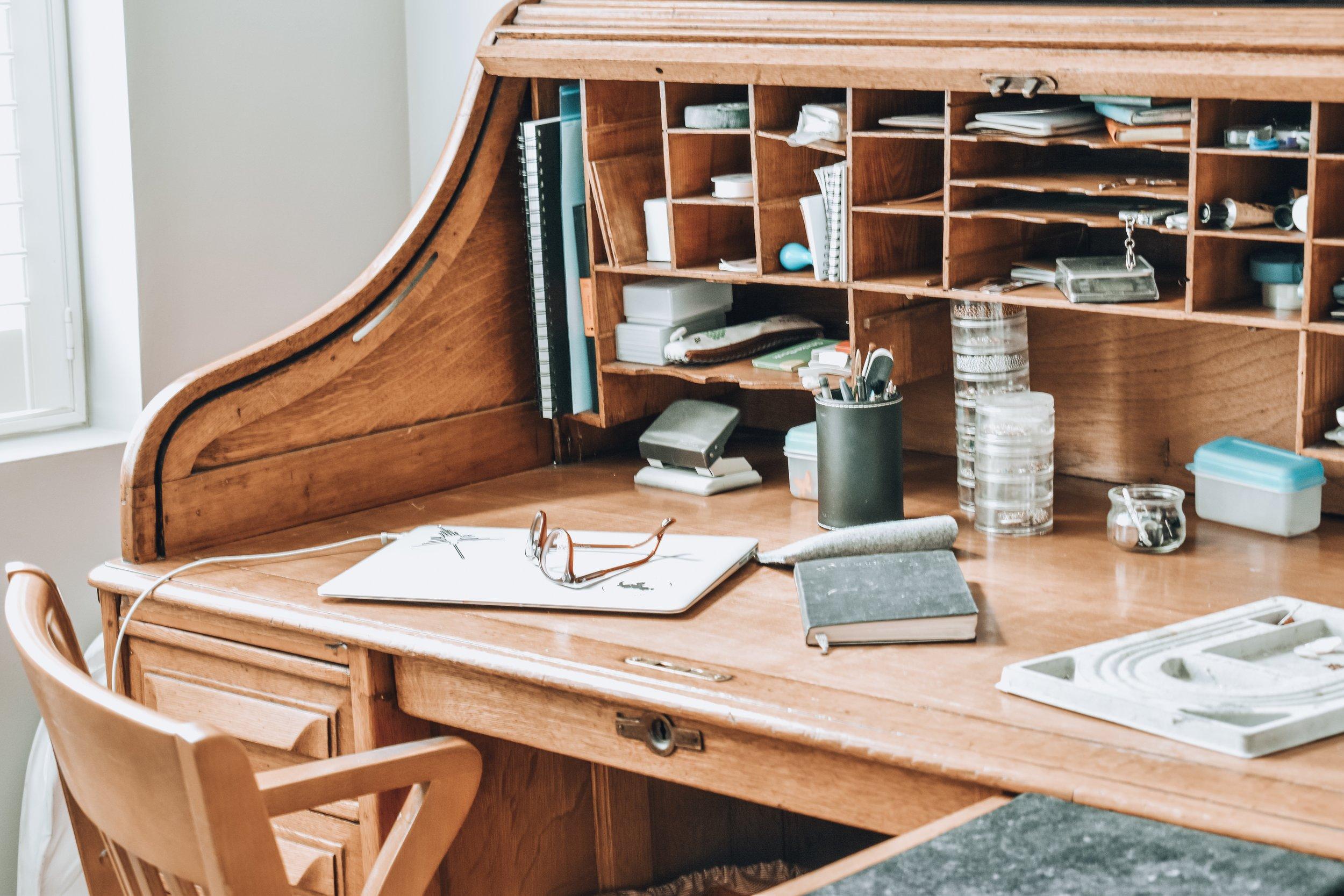 1930s antique desk jewellers studio Militza Ortiz.jpg