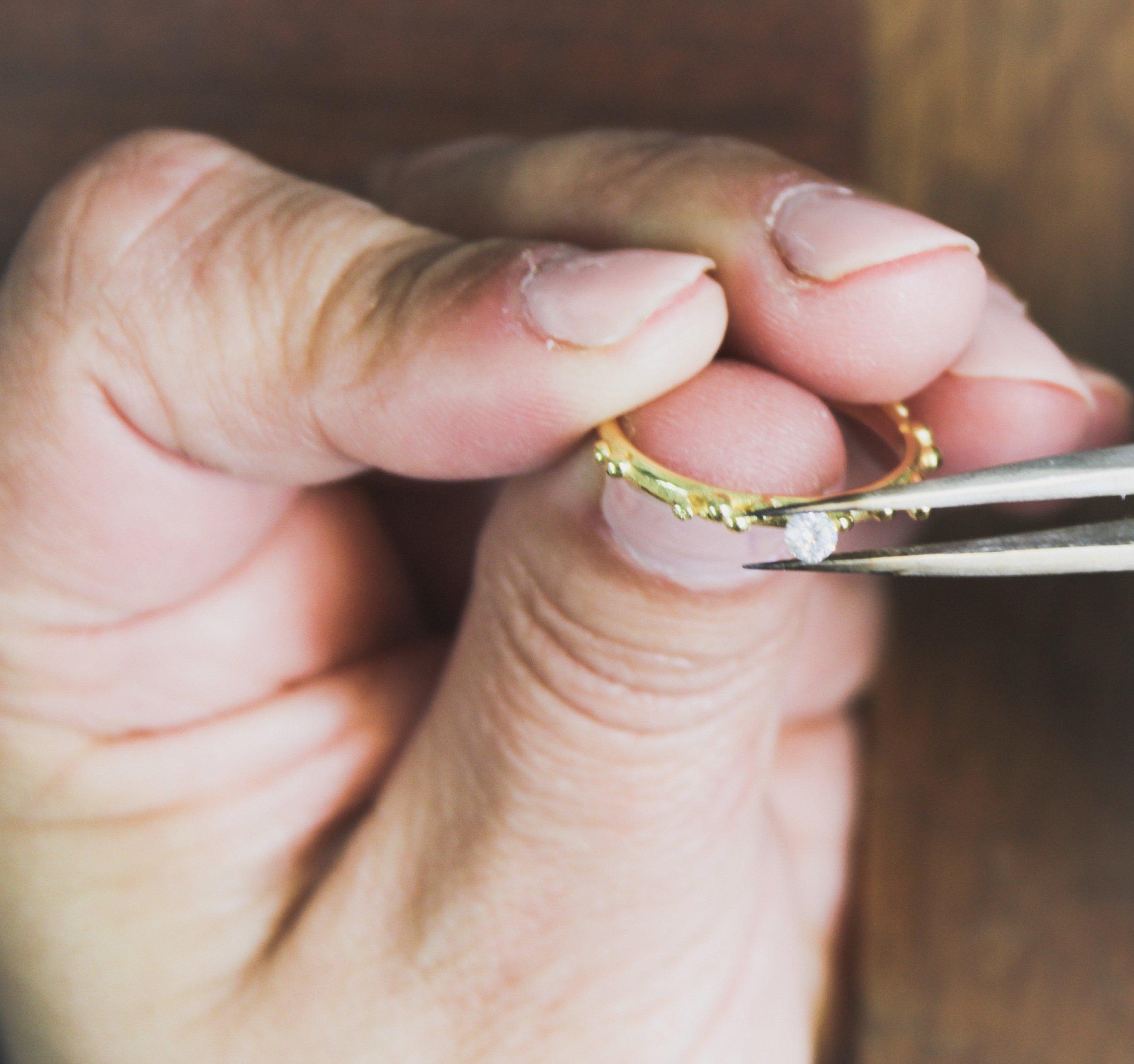 Hand made diamond ring set Militza Ortiz