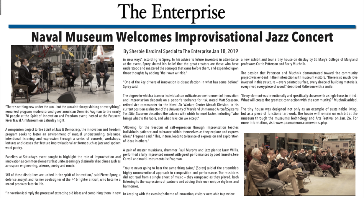 Front page article from the Enterprise covering the Spirit of Innovation & Freedom event at the Patuxent River Naval Air Museum.