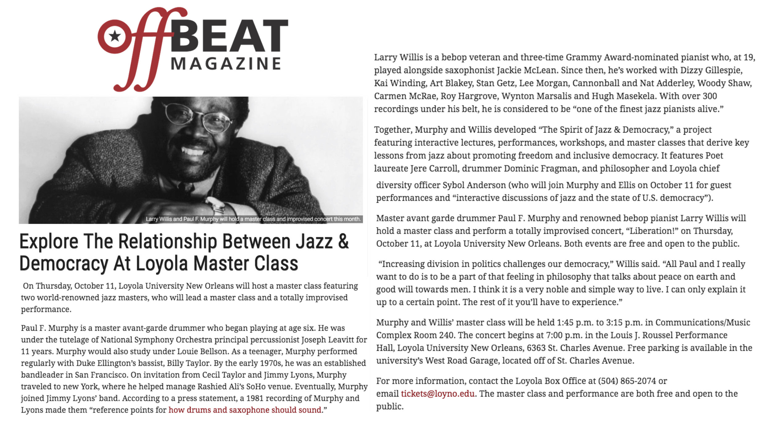 Article from New Orleans magazine, Off Beat, covering the Spirit of Jazz & Democracy concert and masterclass at Loyola University New Orleans.