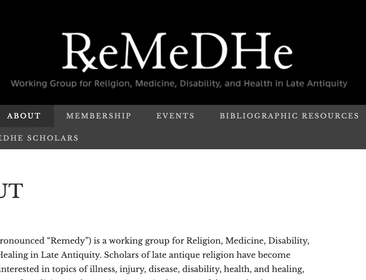 Working Group for Religion, Medicine, Disability and Health in Late Antiquity