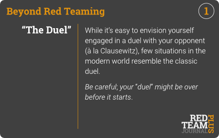 "BRT Card 01 (""The Duel"") : While it's easy to envision yourself engaged in a duel with your opponent (à la Clausewitz), few situations in the modern world resemble the classic duel.  Be careful; your ""duel"" might be over before it starts ."