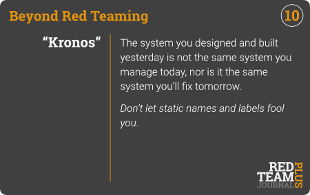 "BRT Card 10 (""Kronos"") : The system you designed and built yesterday is not the same system you manage today, nor is it the same system you'll fix tomorrow.  Don't let static names and labels fool you ."