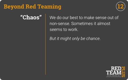 "BRT Card 12 (""Chaos"") : We do our best to make sense out of non-sense. Sometimes it almost seems to work.  But it might only be chance ."