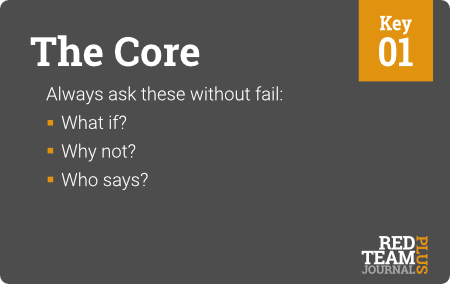 "Key 01 (""The Core"") : Always ask these without fail:  What if ?  Why not ?  Who says ?"