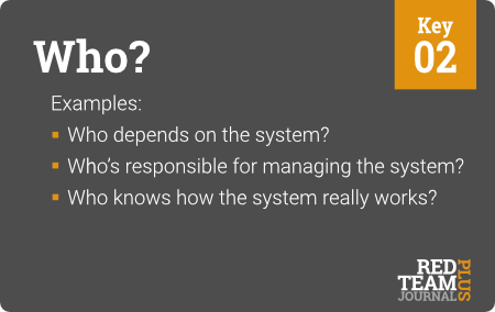 "Key 02 (""Who?"") : Examples:  Who depends on the system ?  Who's responsible for managing the system ?  Who knows how the system really works ?"