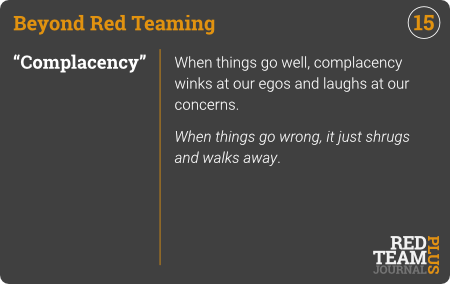 "BRT Card 15 (""Complacency"") : When things go well, complacency winks at our egos and laughs at our concerns.  When things go wrong, it just shrugs and walks away ."