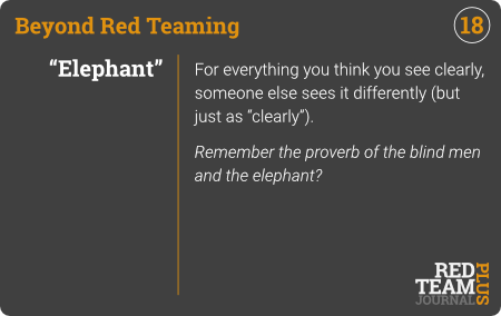 "BRT Card 18 (""Elephant"") : For everything you think you see clearly, someone else sees it differently (but just as ""clearly"").  Remember the proverb of the blind men and the elephant ?"