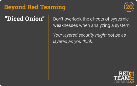 "BRT Card 20 (""Diced Onion"") : Don't overlook the effects of systemic weaknesses when analyzing a system.  Your layered security might not be as layered as you think ."