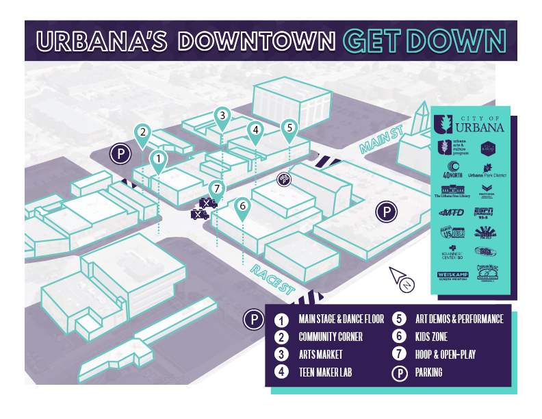 Downtown Get Down Map - Check out the Downtown Get Down map to locate all of the festivities! The map details locations of individual vendors and the overall layout of the festival, including arts market, maker lab, community corner, performance pop-up, kid's zone, and the main stage!