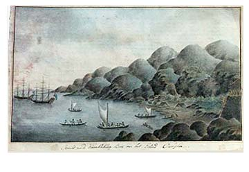 """Attributed to Johann George Adam Forster, watercolour dated 1779 Represents the visit by Capt.James Cook to the Bay of Karakakooa on the main island of Hawaii. This scene is also famous for showing the first known """"surfer"""". Image: Kauai Fine Arts Link:  http://www.brunias.com/haw09.html"""