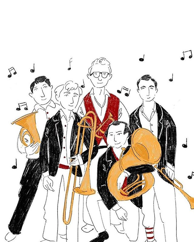 It's us in cartoon form! Thanks @geogram123 for taking the time to draw this- we LOVE it! Go check out a her art @figisisters . . . . #drawing #drawings #twobuttonbrass #trumpet #trumpetplayer #classicaltrumpet #trumpetist #trumpeter #trumpetlove #brass #frenchhorn #trombone #tuba #brassquintet #chambermusic #losangeles #losangelesmusic #california #livemusic #musicians #freelancemusicians #usc #uscthornton #schoolofmusic #musicschool #band #orchestra #classicalmusician #art #music