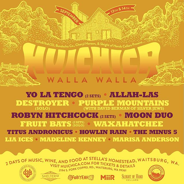 We've officially hit the Huichica trifecta. The first ever Walla Walla Huichica 2019 lineup is now out! Join us September 13th and 14th at Stella's Homestead nestled just 15 miles away from Walla Walla, Washington. It'll be a dreamy weekend of amazing music, wine and food with headliners @therealylt, @allahlas, Destroyer (solo) and more! Bring your friends and family to come help us wrap up this Huichica filled year. Tickets go on sale TOMORROW so be ready! . . . #Huichica #GunBunWine #FolkYeahEvents #musicfestival #winefest #localfood #livemusic #lineup #familyfriendly #wallawalla #folkyeah #buytickets #campinglife #homestead #yalotengo #allahlas #destroyer #lineup