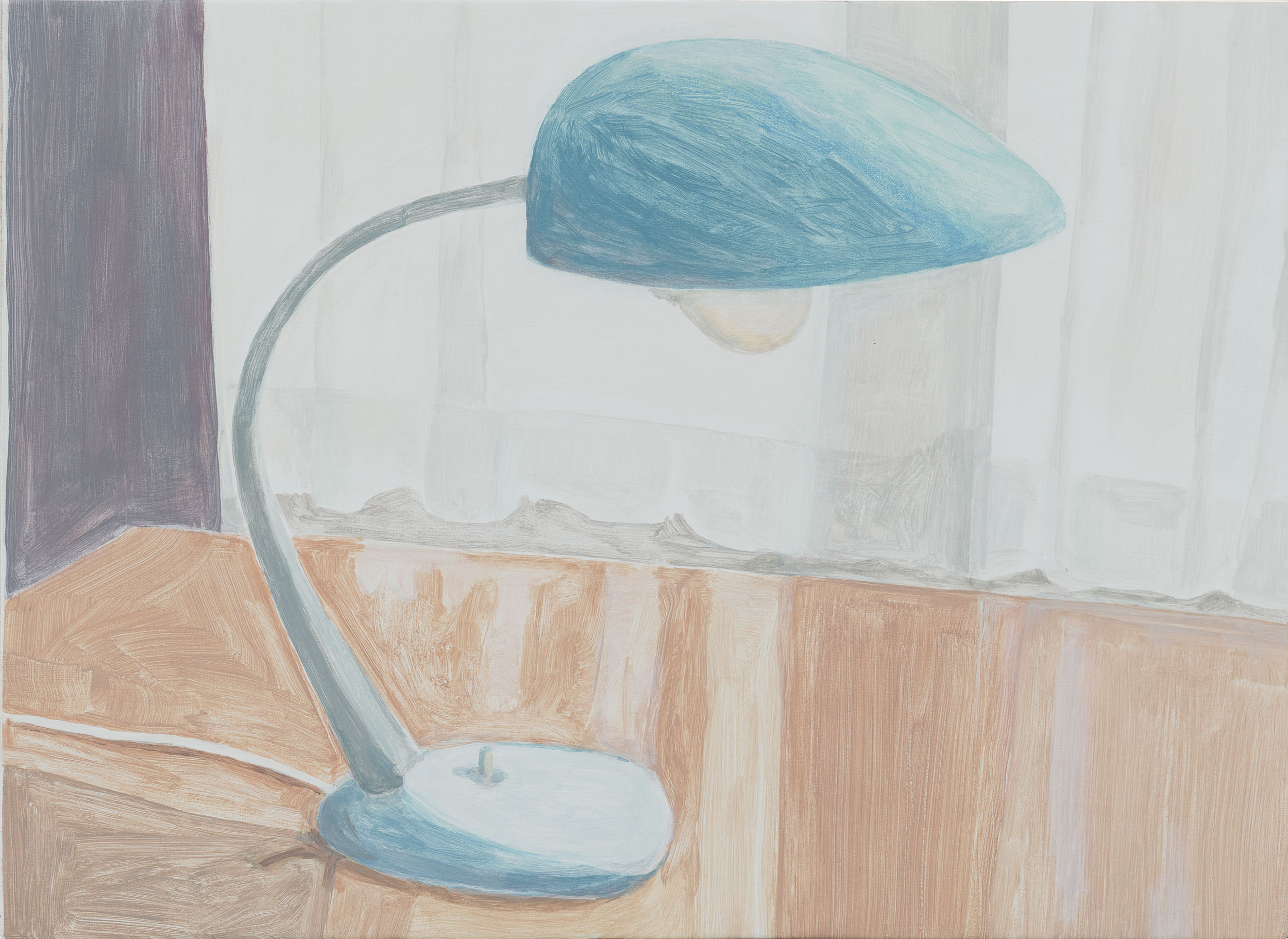 Desk Lamp, acrylic on canvas over board, 16 x 22-1/4 inches, 2017.