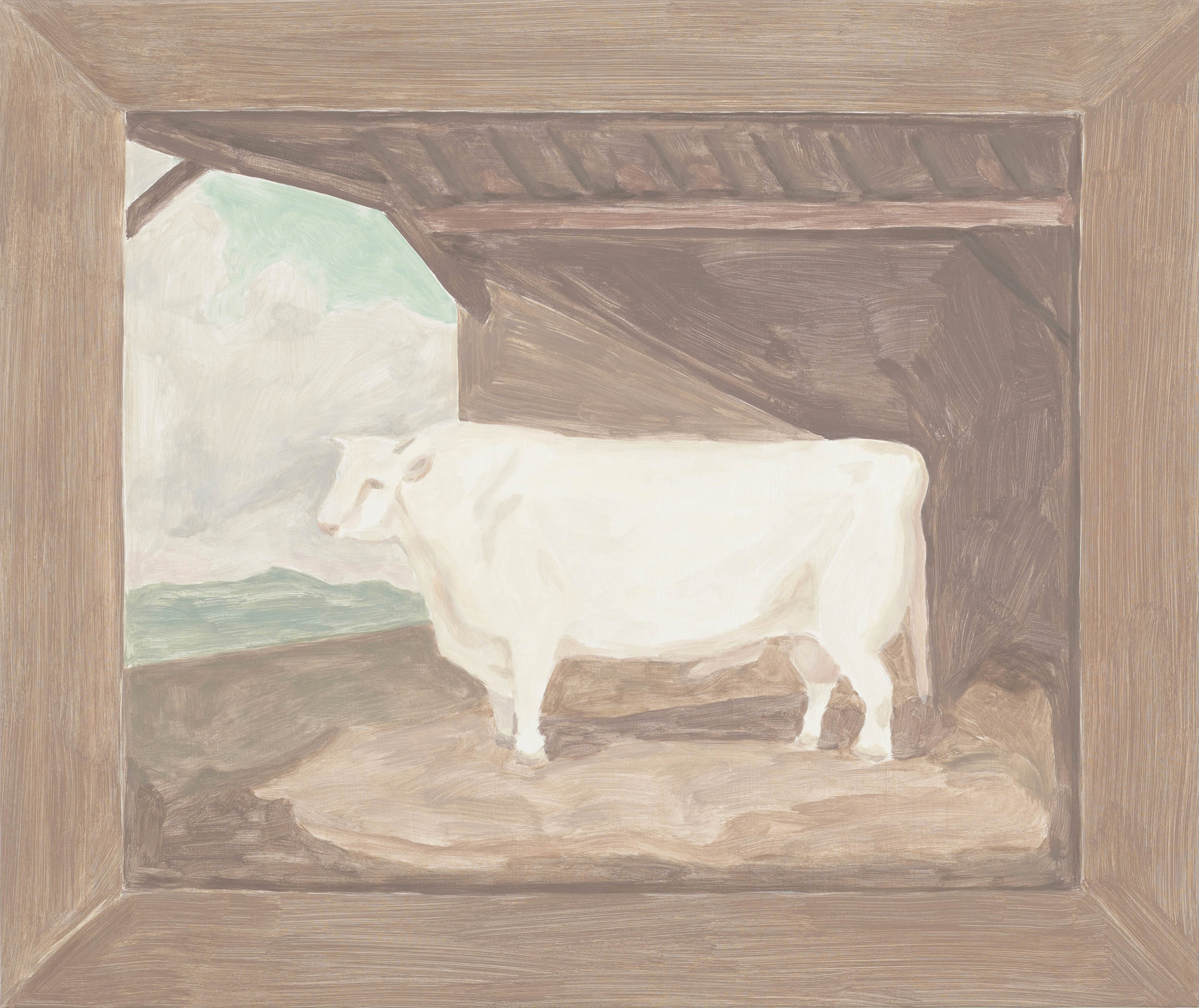 Framed Painting: Bull, acrylic on canvas over board, 29 x 34 1/2 inches, 2012.