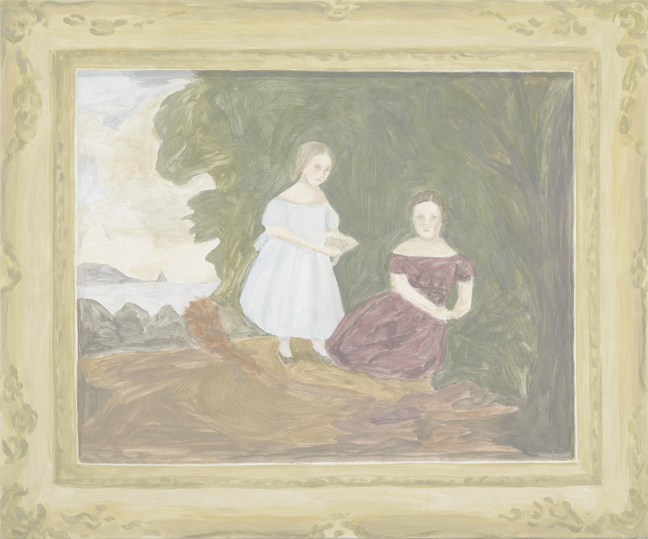 Framed Painting: Two Girls, acrylic on canvas over board, 30 x 36 inches, 2012.   X2016.10,  Permanent.Collection, 2016.  Paintings of Paintings , Talley Dunn Gallery, 2012.