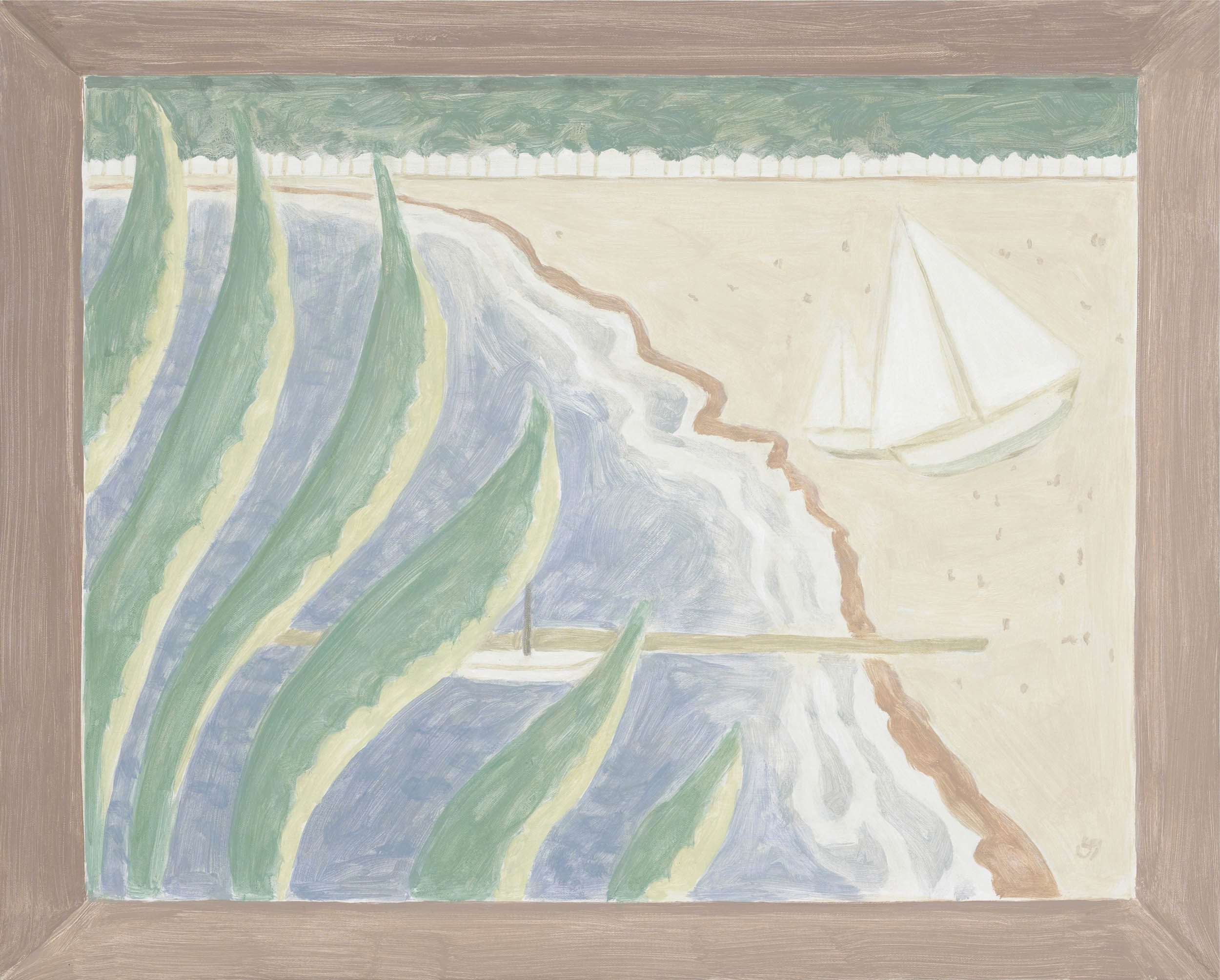 Framed Painting: Beach with Cactus, acrylic on canvas over board, 20 1/4 x 25 inches, 2012.