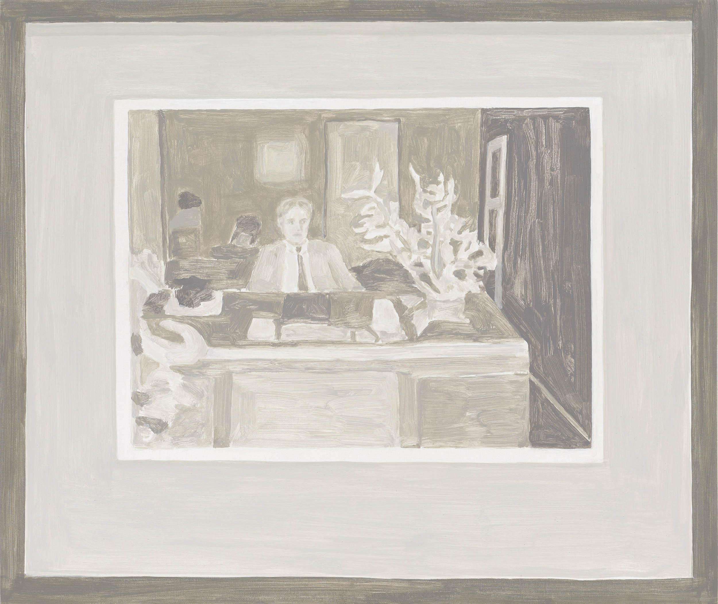 Framed Photo: Man at Desk, acrylic on canvas over board, 18 1/2 x 22 inches, 2011.   X2016.10,  Permanent.Collection, 2016.  Paintings of Paintings , Talley Dunn Gallery, 2012.