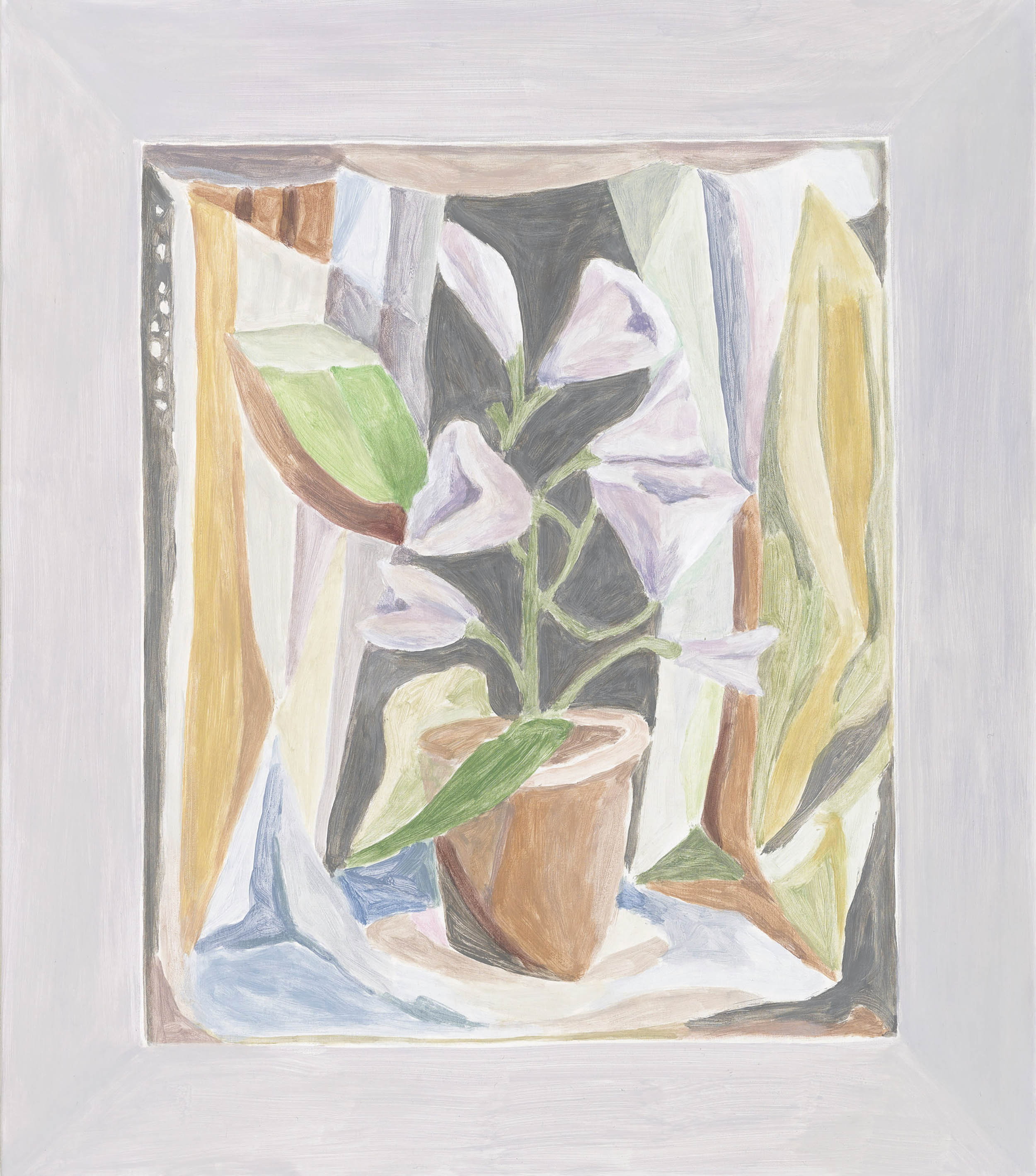 Framed Painting: Cubistic Still Life, acrylic on canvas over board, 28 1/2 x 25 inches, 2011.   X2016.10,  Permanent.Collection, 2016.  Paintings of Paintings , Talley Dunn Gallery, 2012.