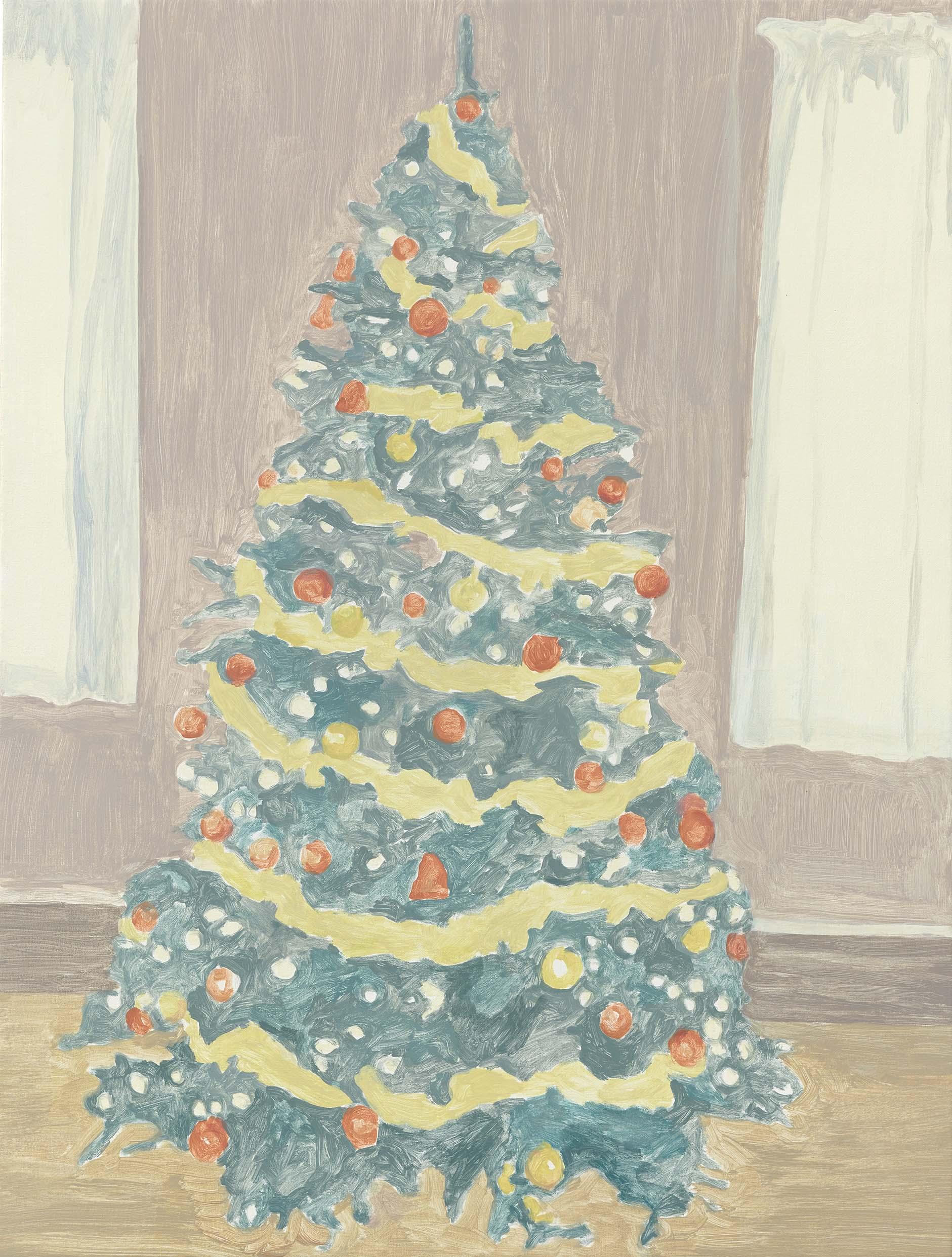 Xmas Tree 1, acrylic on canvas, 32 x 24.25 inches, 2014.
