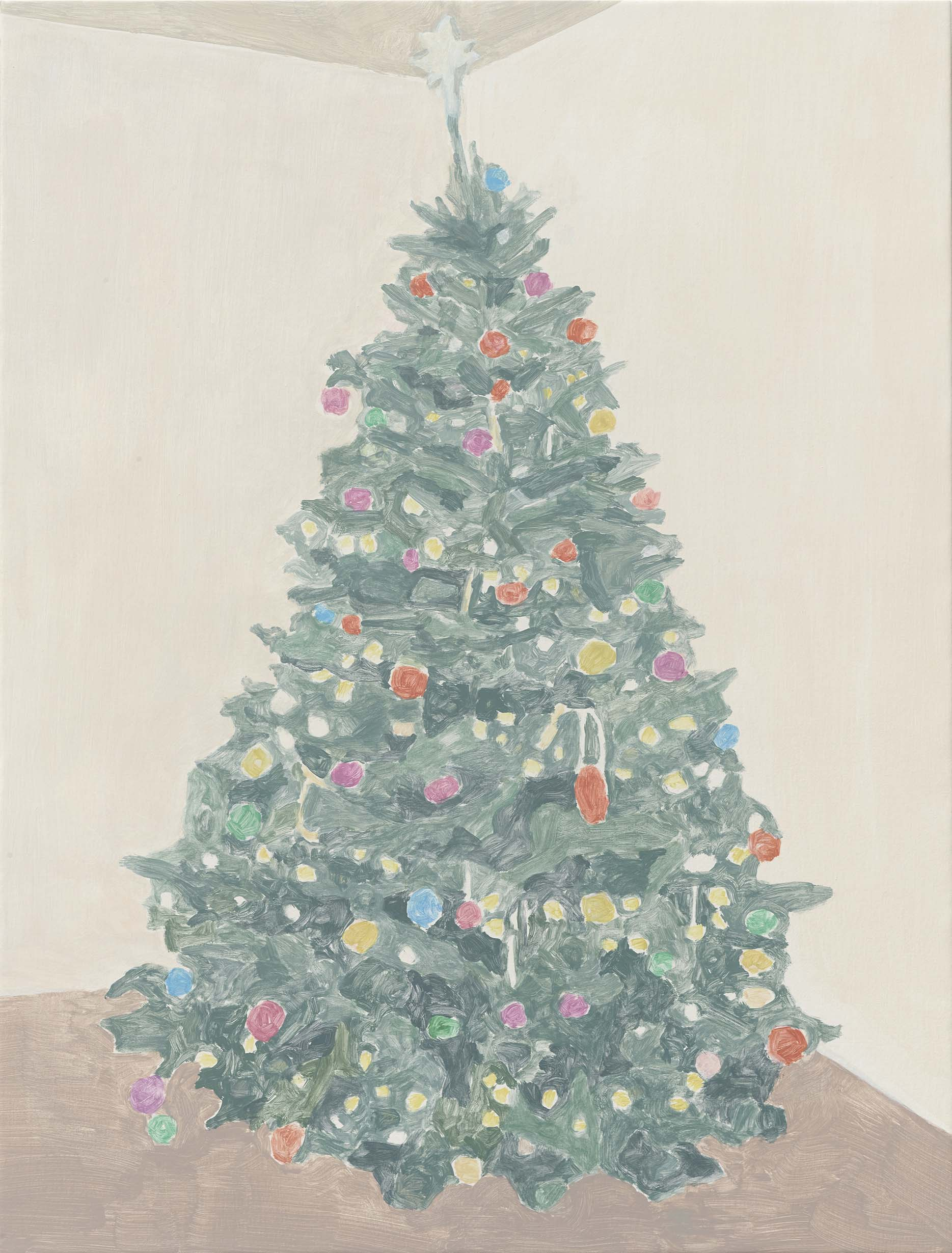 Xmas Tree (baubles and star), acrylic on canvas, 32 x 24.25 inches, 2014.