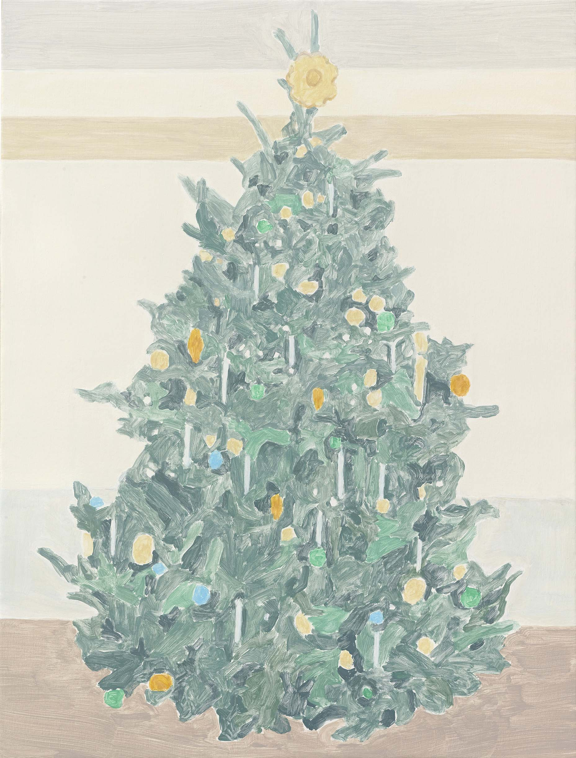 Xmas Tree (candles), acrylic on canvas, 32 x 24.25 inches, 2014.