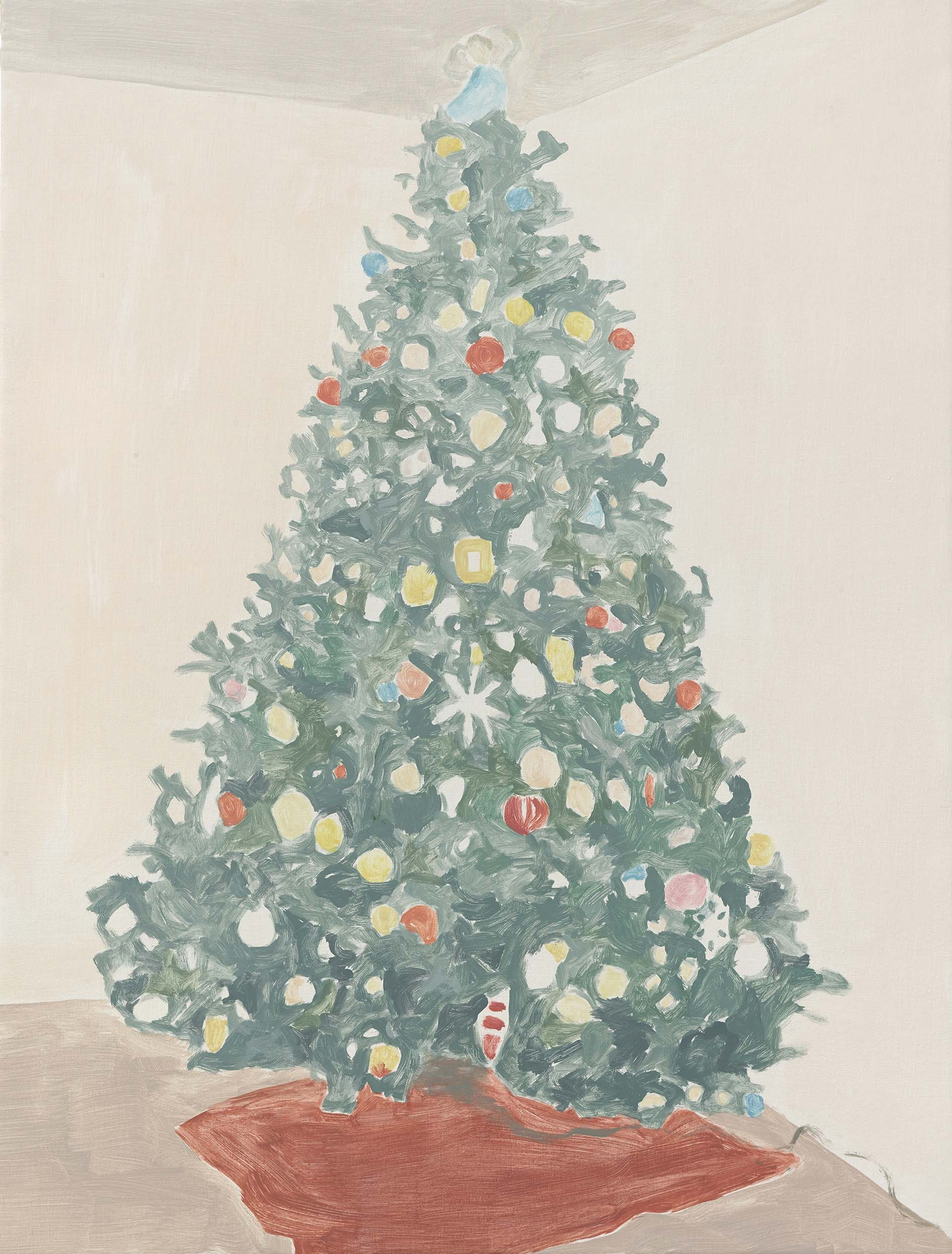 Xmas Tree 3 (red rug), acrylic on canvas, 32 x 24.25 inches, 2014.