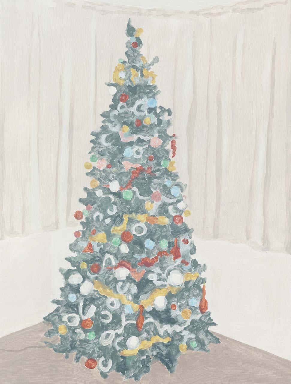 Xmas Tree 2, acrylic on canvas, 32 x 24.25 inches, 2014.