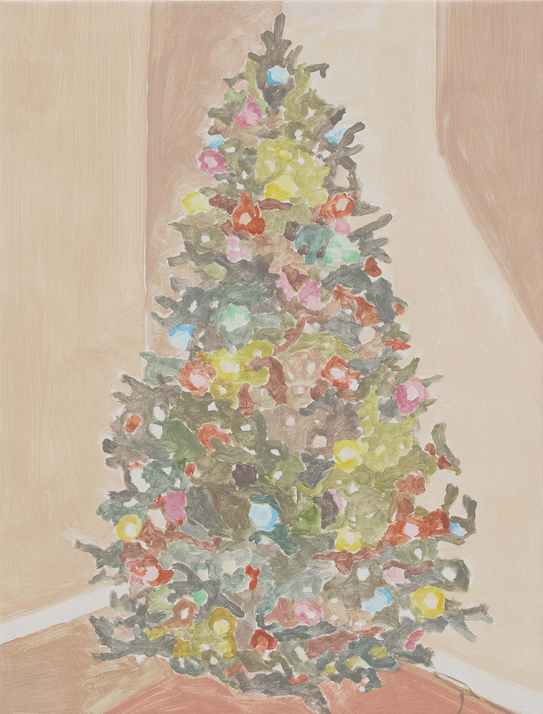 Xmas Tree (colored lights), acrylic on canvas, 32 x 24.25 inches, 2015.