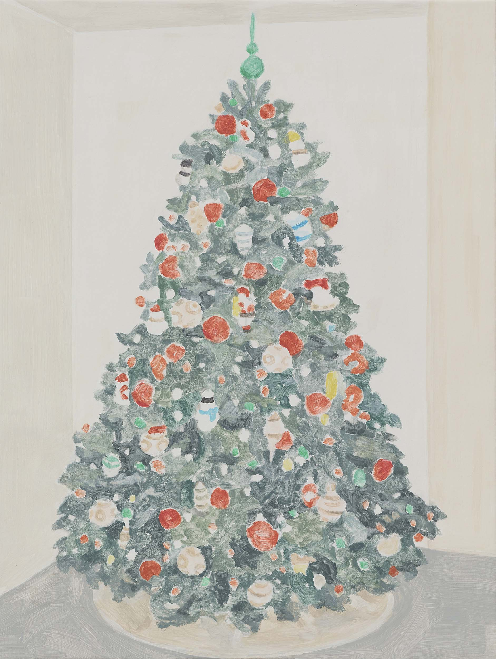 Xmas Tree (green top), acrylic on canvas, 32 x 24.25 inches, 2015.