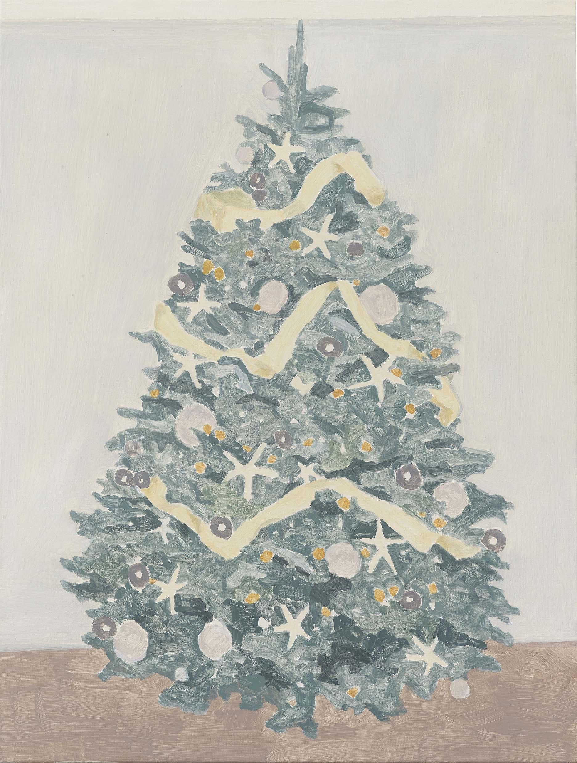 Xmas Tree (large stars), acrylic on canvas, 32 x 24.25 inches, 2015.