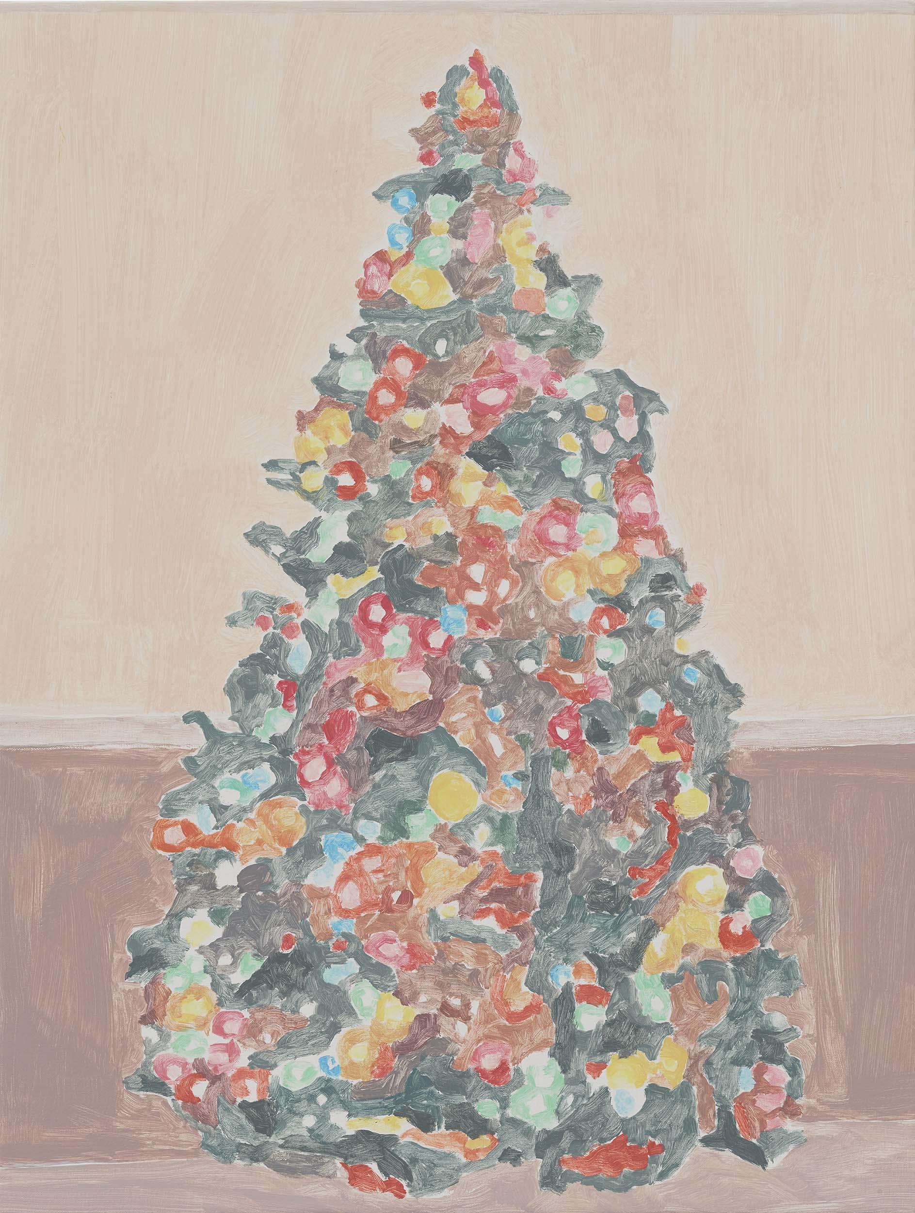 Xmas Tree (wainscot), acrylic on canvas, 32 x 24.25 inches, 2015.