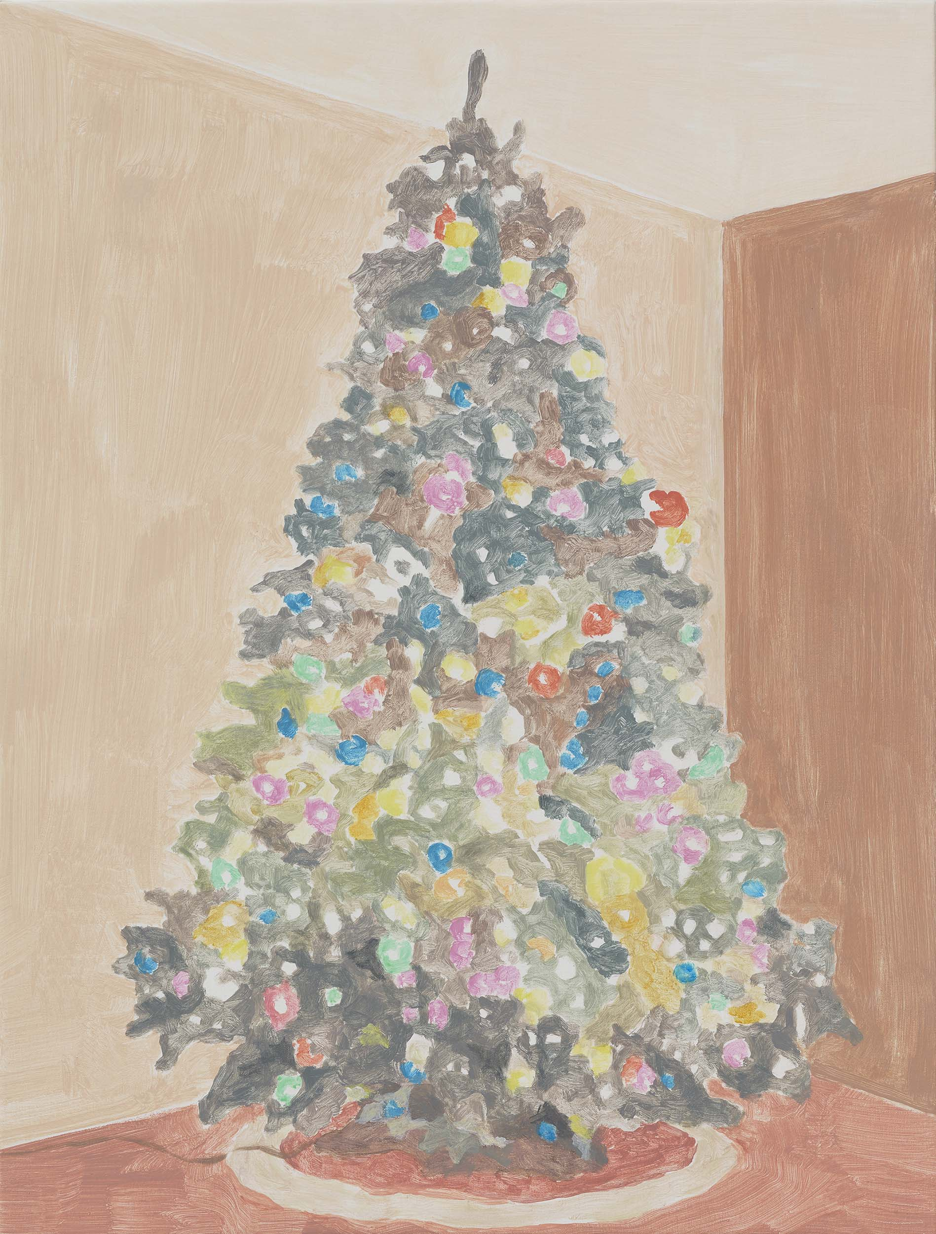 Xmas Tree (lights and round skirt), acrylic on canvas, 32 x 24.25 inches, 2015.
