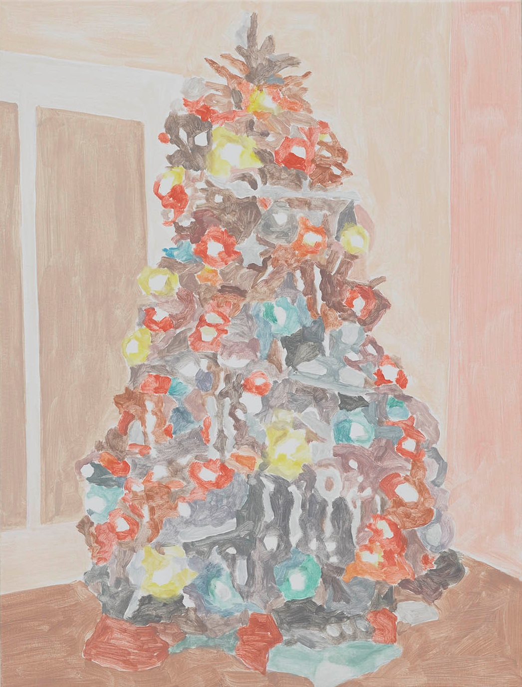 Xmas Tree (flower lights), acrylic on canvas, 32 x 24.25 inches, 2016.