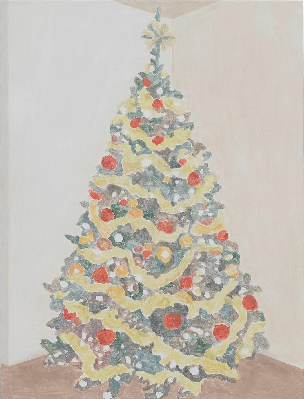 Xmas Tree (garland), acrylic on canvas, 32 x 24.25 inches, 2016.