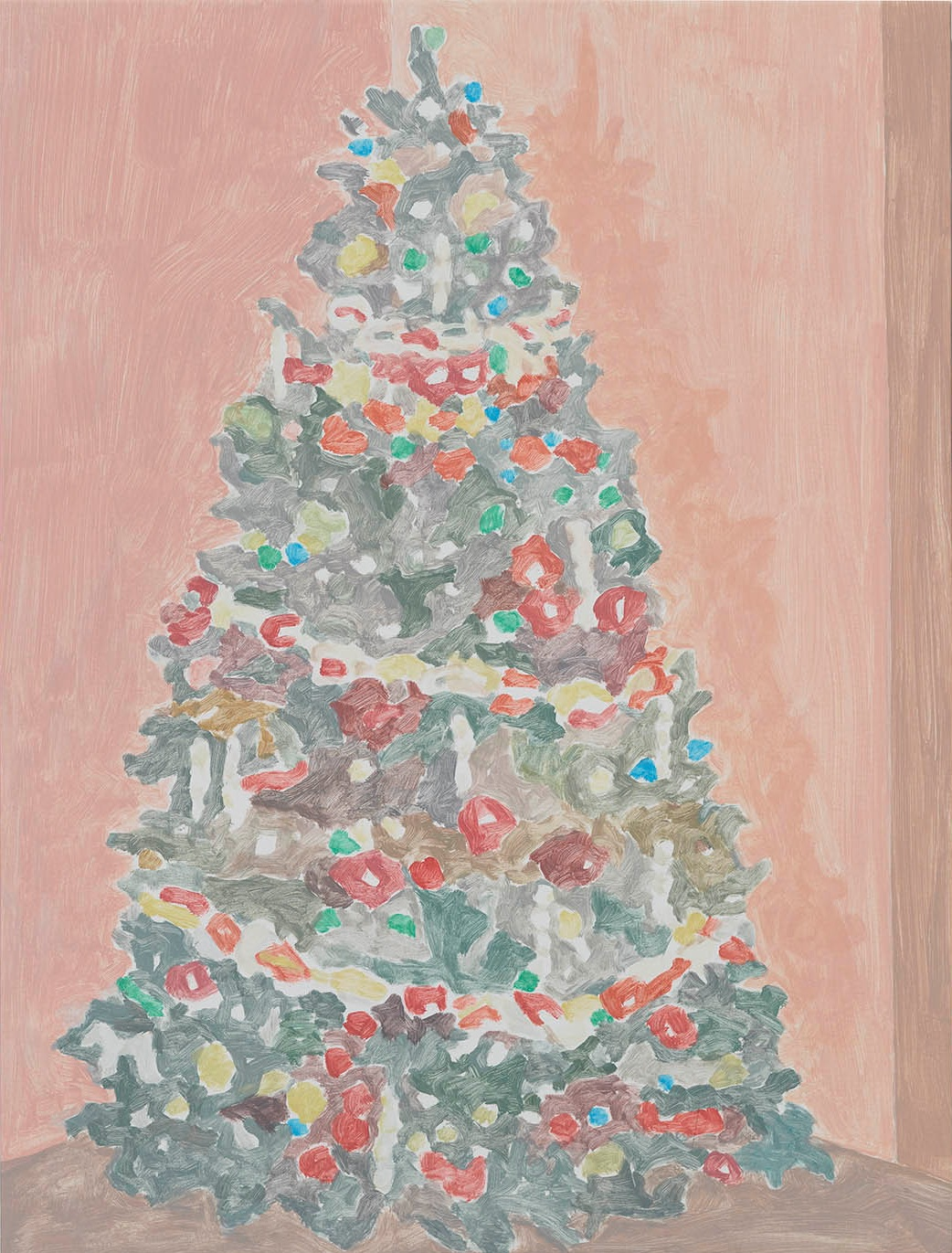 Xmas Tree (paperchain), acrylic on canvas, 32 x 24.25 inches, 2016.