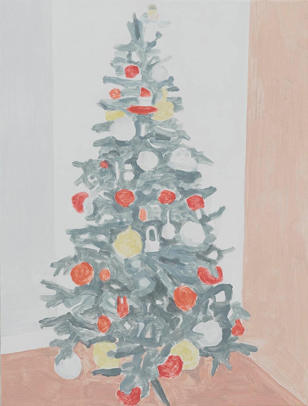 Xmas Tree (pompoms), acrylic on canvas, 32 x 24.25 inches, 2016.